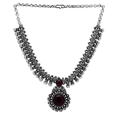 04b4d041d Buy Jaipur Mart Maroon Color Glass Stone Oxidised Kolhapuri Necklace Online  at Low Prices in India