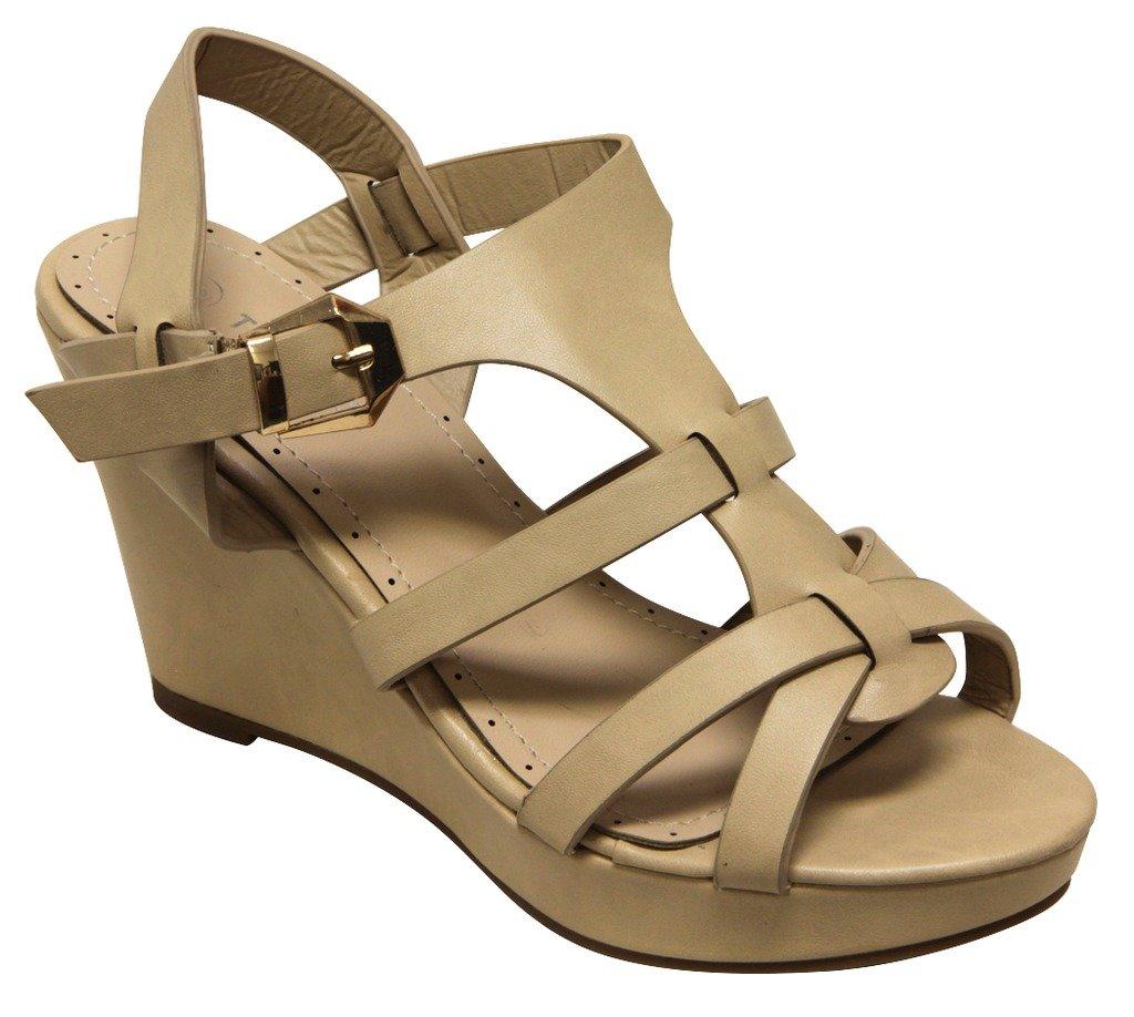 Top Moda Art-1 Women's open toe platform wedge ankle strap slingback sandals Beige 7