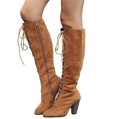 Mxssi Bottes Femme Bottes au Genou Suède Bottes Cuissardes Bottines Longue  Lacets Mode Sexy Chaussures Pointure 8c12e6dddd04