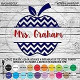 Chevron Apple Teacher with Name Vinyl Die Cut Decal Sticker for Car Laptop etc. MGM355