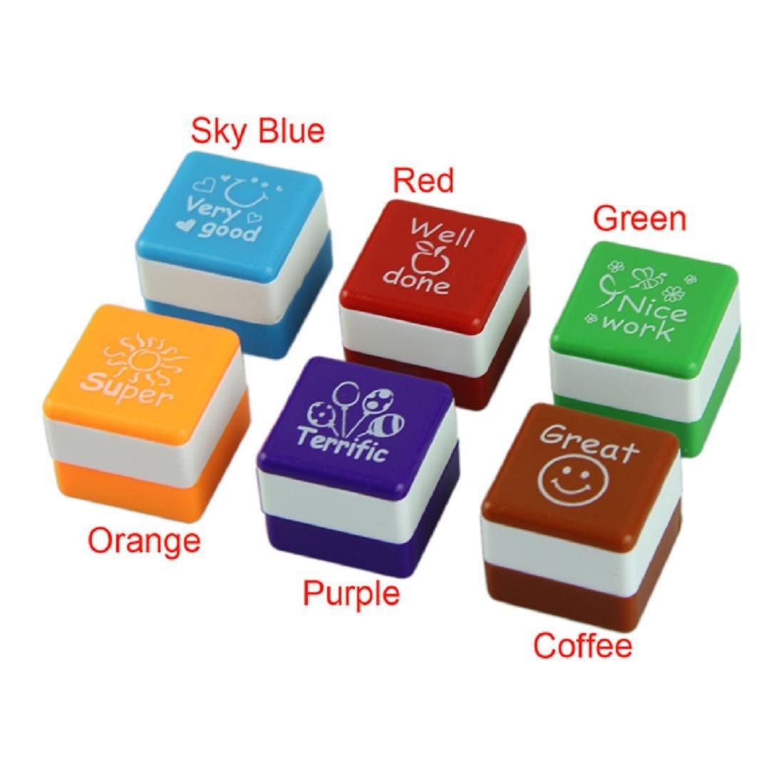 Coromose 6pc Teachers Stampers Self Inking Praise Reward Stamps Motivation Sticker School