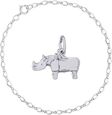 Rembrandt Sterling Silver Two-Tone 3-D Giraffe Charm on a Sterling Silver Rope Chain Necklace