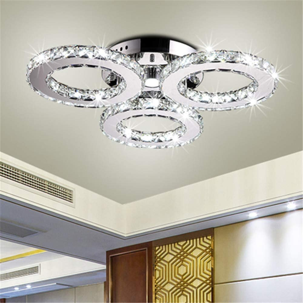 BAYCHEER Clear Crystal Ceiling Lighting Fixtures 3 Lights 40W Modern Circular Ring LED Ceiling Flush Mount Light Fixture 18inch Cool Light