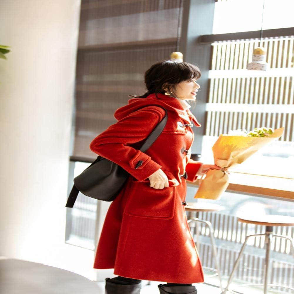 WDAYI Cappotto in Lana Casual con Fibbia in Corno Cappotto in Lana Femminile 8520 Red