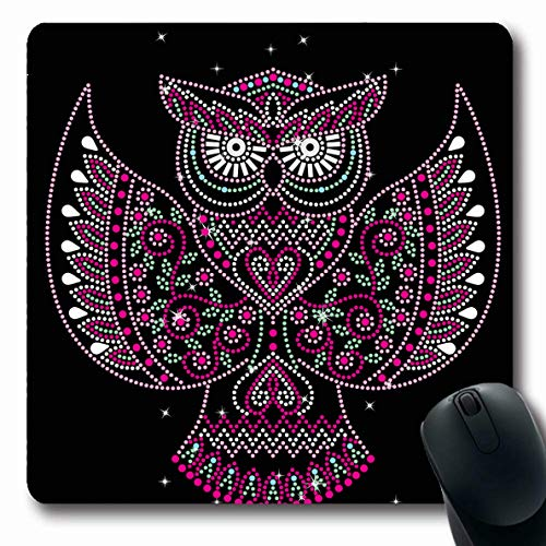 (Ahawoso Mousepads for Computers Applique Neck Rhinestone Hotfix Transfer Owl Abstract Bird Diamond Art Oblong Shape 7.9 x 9.5 Inches Non-Slip Oblong Gaming Mouse)