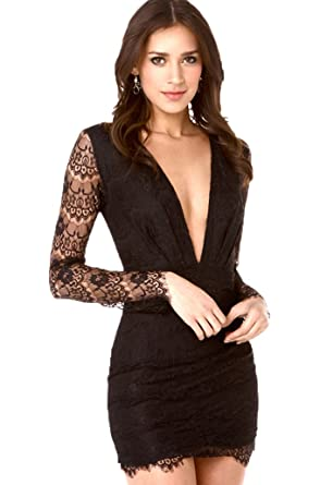 ISSHE Lace Evening Dresses For Women Sexy Deep V-Neck Long Sleeve Mini Party Cocktail