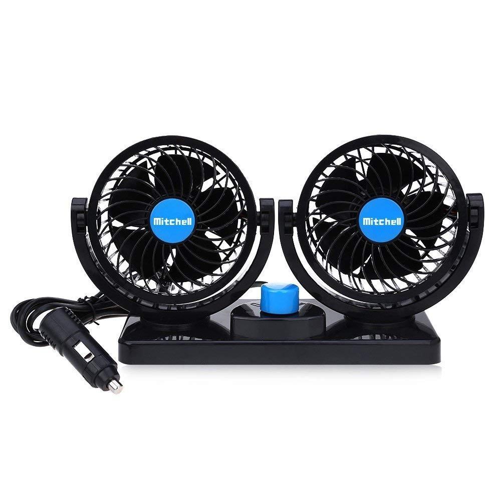 KanCai Ventilateur de voiture, 12V doubles tê tes rotatives, silencieux, 360 degré s rotatif 2 vitesses Ajustable Double Voiture avec Allume Cigare 12V doubles têtes rotatives
