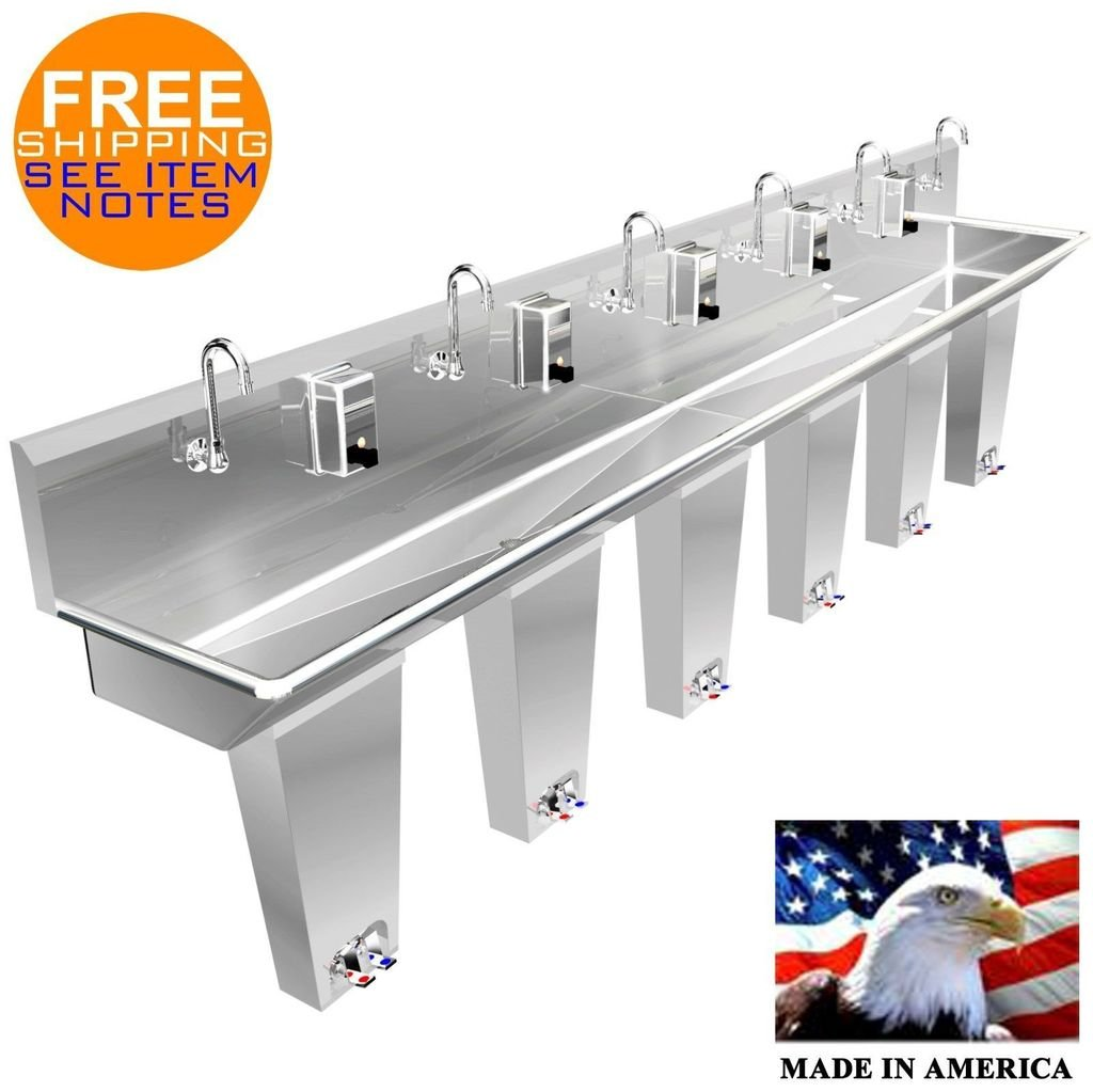 WASH HAND SINK 6 PERSON 132'' PEDAL VALVE COLUMNS 2 WELDED DRAINS MADE IN AMERICA by BSM