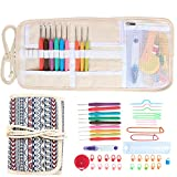 Damero Ergonomic Crochet Hooks Set, Travel Canvas Roll Organizer with 9pcs 2mm to 6mm Soft Grip Crochet Hooks and Complete Knitting Accessories, All in One, Easy to Carry, Bohemian