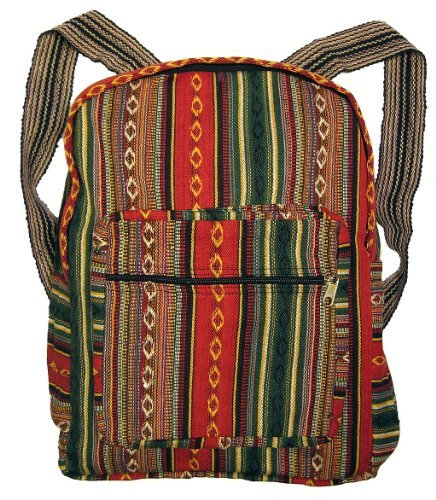 Tribal Red Woven Backpack or Daypack [並行輸入品] B07R3XYYVY