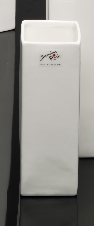 Porzellanvase Square wei/ß eckig 18 cm hoch /Ø 6,5 x 6,5 cm von Sandra Rich