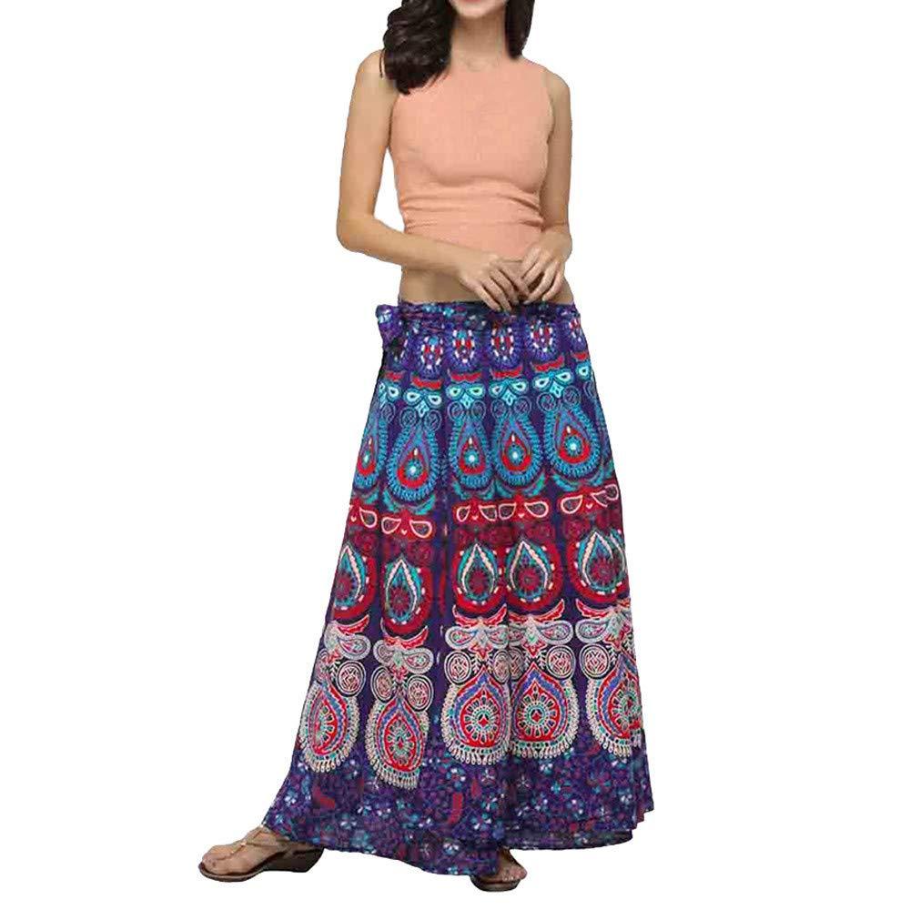 FELZ Falda de Mujer Falda Larga Mujer Falda con Estampado de ...