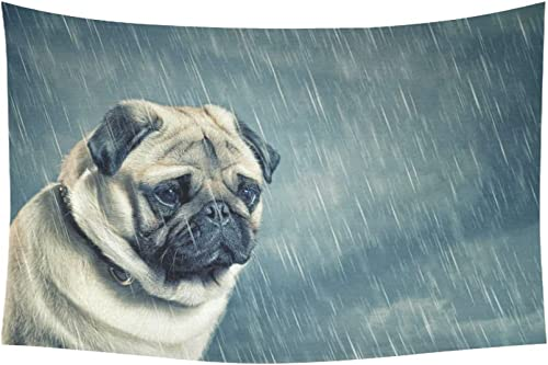 INTERESTPRINT Animal Pattern Wall Art Home Decor, Sad Dog in The Rain Tapestry Wall Hanging Art Sets 90 X 60 Inches