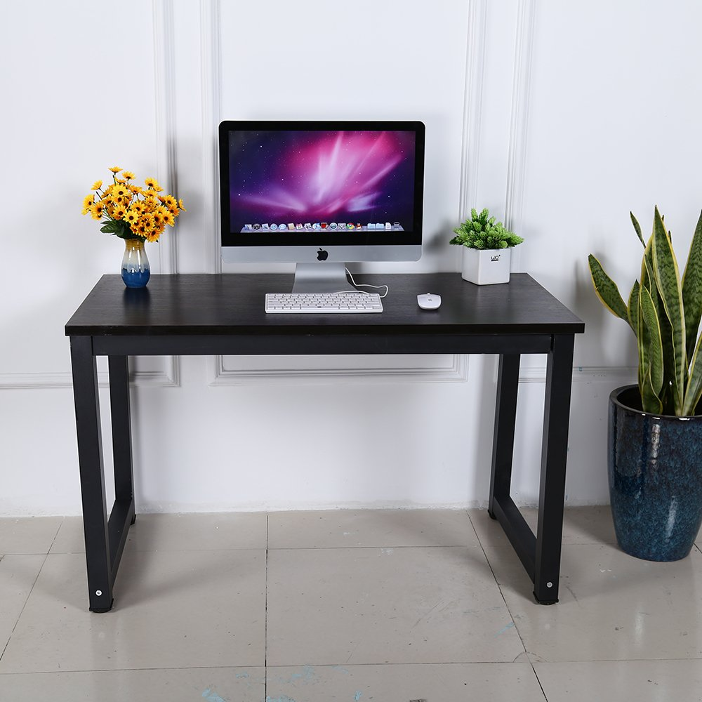 gootrades Computer Desk, 47'' Sturdy Home Office Desk Study Writing Desk, Modern Simple Style PC Workstation Table for Living Room, Black Walnut by gootrades (Image #3)