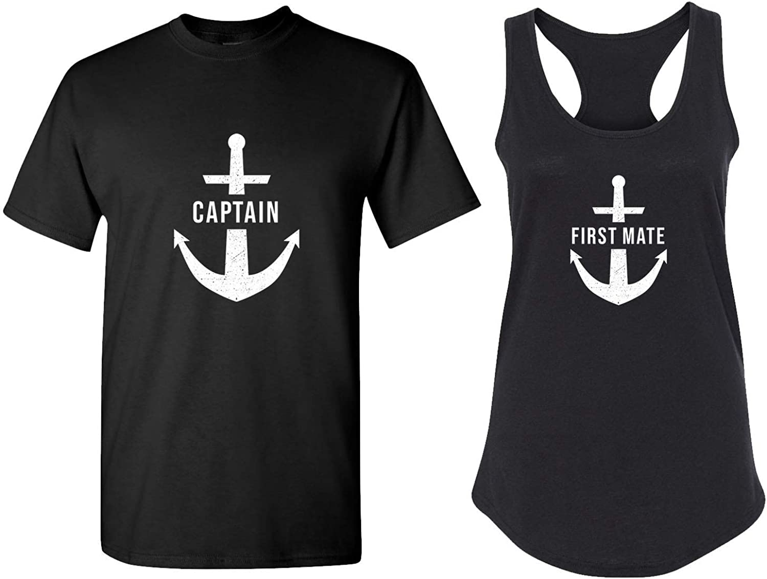 Cool Matching Couple Shirts - Anchor, Sail & Captain Theme Racerback Tank Tops