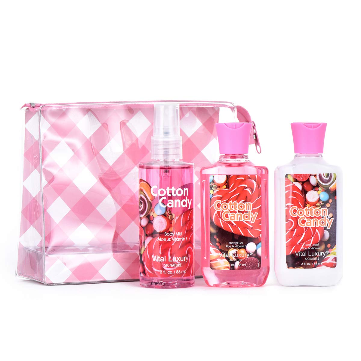 Vital Luxury Bath & Body Care Travel Set - Home Spa Set with Body Lotion, Shower Gel and Fragrance Mist (Cotton Candy)