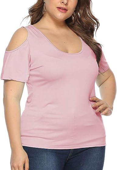 wyxhkj Tops Blusa Mujere Talla Grande, Camiseta Manga Corta Hombro Descubierto O-Cuello Color Sólido Camisa Informal Suelta Casual Verano: Amazon.es: Ropa y accesorios