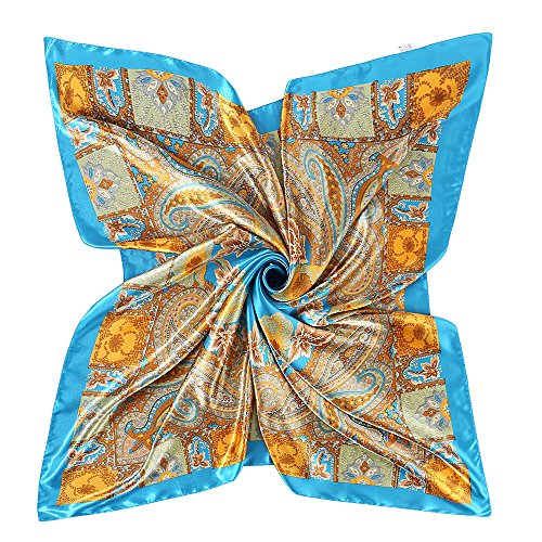 (YOUR SMILE Polyester Scarf Women's Fashion Pattern Baby Blue Large Square Satin Headscarf 35''x35'' (808))