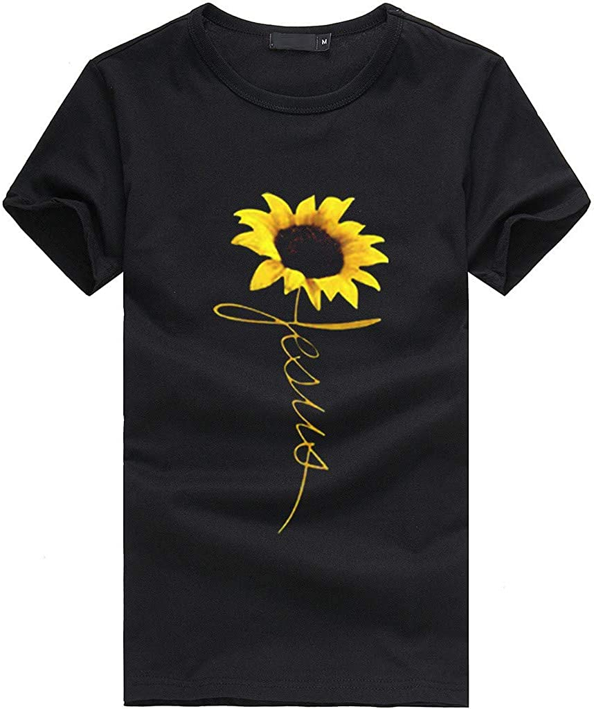 WUAI-Women T-Shirts,Casual Short Sleeve Sunflower Print Slim Fit Tunic Tops Blouse Plus Size Camisas para Mujeres