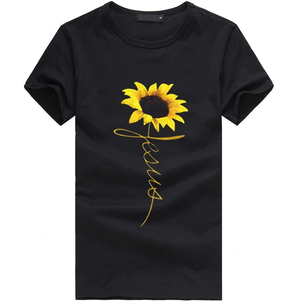 ballsFHK Womens O-Neck Short Sleeve Sunflower Print T-Shirt Casual Plus Size Loose Blouse Tee Shirts Tops S-3XL