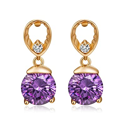 YAZILIND Fashion Gold Plated Pink Cubic Zirconia Elements Drop Earrings for Women DcSVHV5GSn