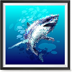 EzPosterPrints - Amazing Animal Vector Illustration Posters - Poster Printing - Wall Art Print for Home Office School Classroom Decor - Shark - 12X12 inches