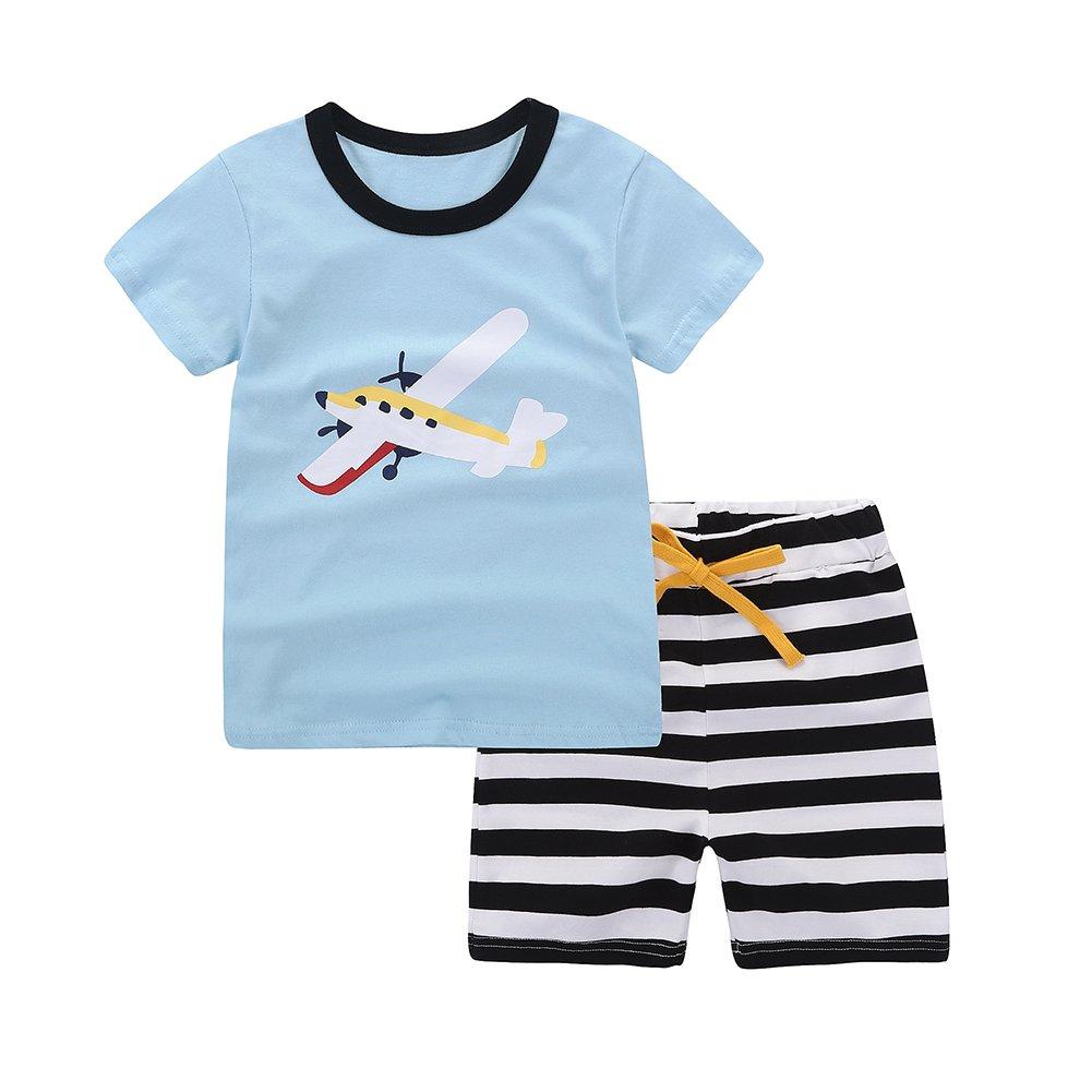Motecity Fashion Little Boys' Summer Casual Cartoon Printed Set T-Shirt Shorts Blue Plane 2T by Motecity (Image #1)