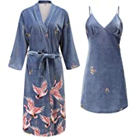 Dames Badjas,Set pyjama's Set Herfst & Winter Velour Slaapkleding Slaapkleding Casual Homewear Wedding 2 Stuks (Robe…