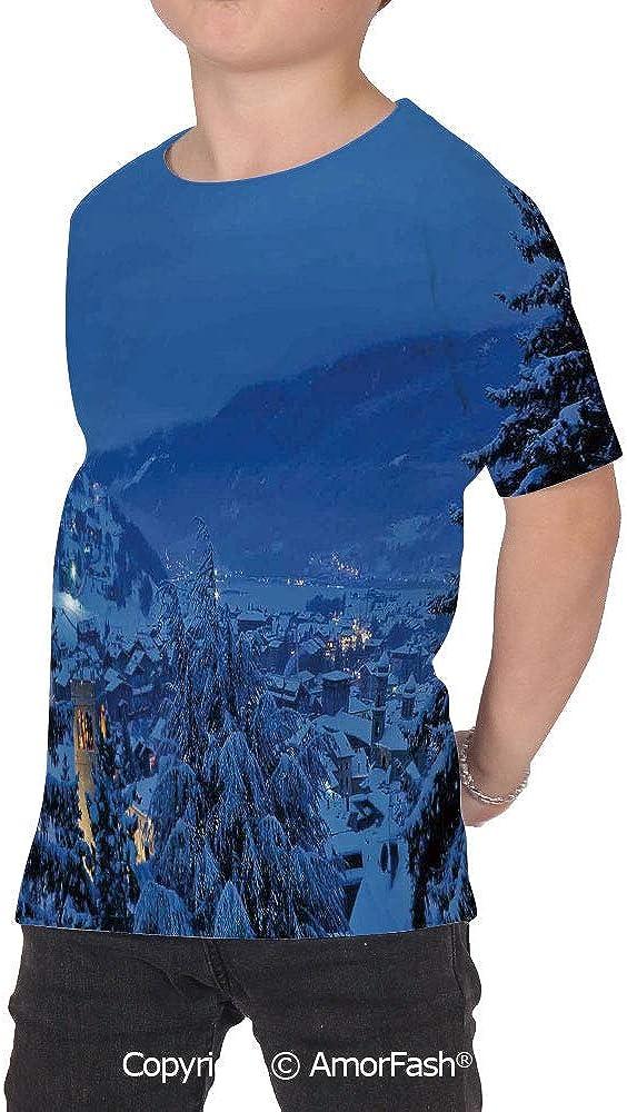PUTIEN Farm House Decor All Over Print T-Shirt,95/% Polyester,Childrens Short Sleeve T