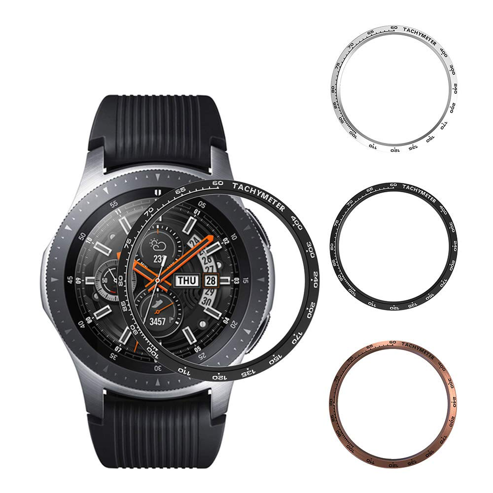 [3-Pack] Bezel Ring Compatible with Samsung Galaxy Watch 46mm and Gear S3 Frontier Classic Adhesive Cover,Stainless Steel Anti Scratch Protector Dial Accessories (Black+Silver+Rose Gold-2, 46mm) by Richone