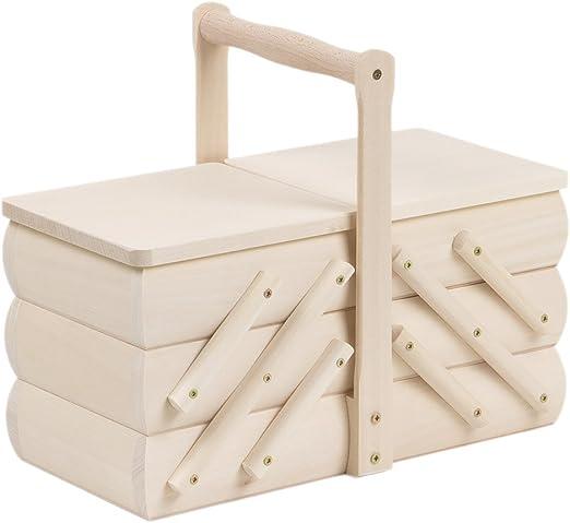 5 compartimentos pequeño 3,4 L costurero costurero madera caja ...