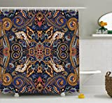 Paisley Shower Curtain by Ambesonne, Historical Moroccan Florets with Slavic Effects Heritage Design, Fabric Bathroom Decor Set with Hooks, 70 Inches, Royal Blue and Sand Brown