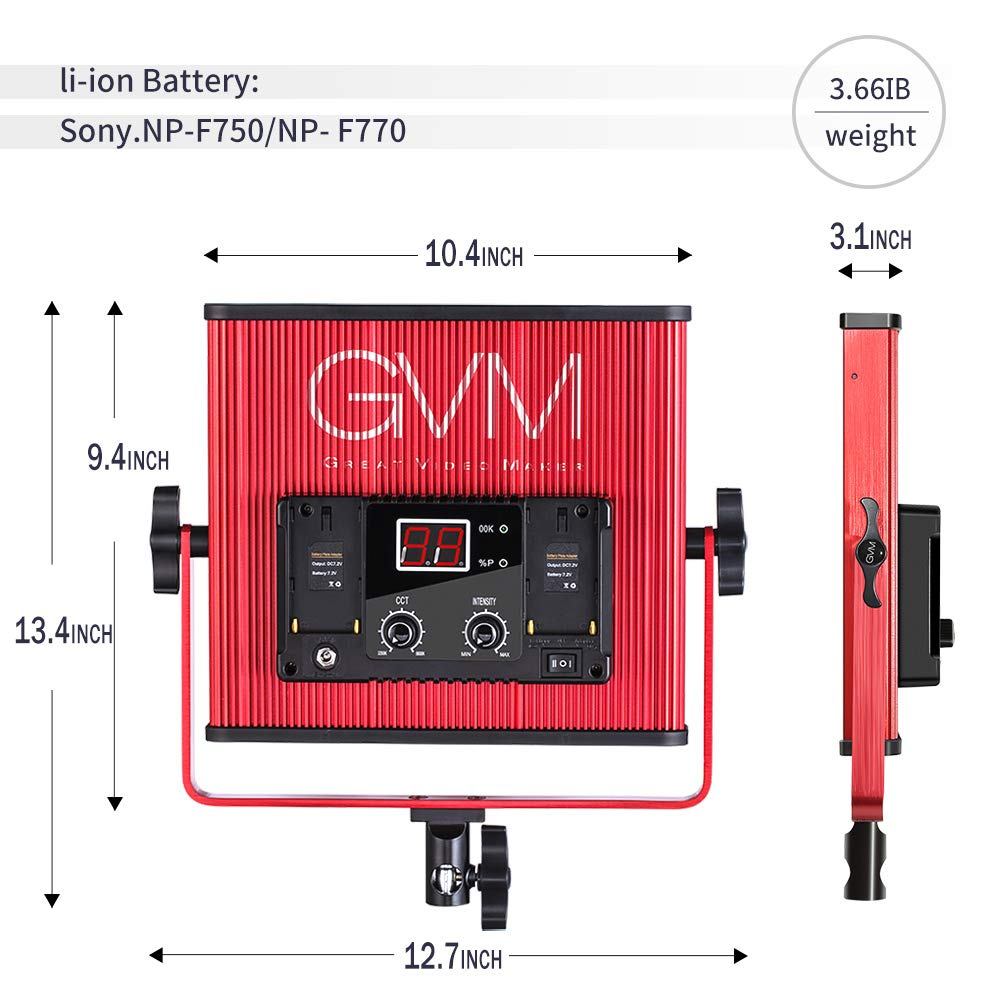 GVM LED Video Light 520 CRI97 + & TLCI 97+ 18500lux @ 20 inch Bi-Color 3200-5600K for Photography Video Lighting Studio Interview Portrait by GVM Great Video Maker (Image #2)
