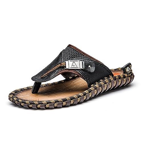 para Hombre Flip Flops Originales Cuero Zapatillas Verano Moda Playa Sandalias Zapatos para Hombres: Amazon.es: Zapatos y complementos