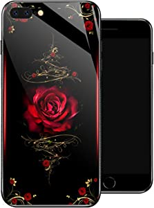 iPhone 8 Plus Case, Spiritual Rose Flowers iPhone 7 Plus Cases for Girls,Non-Slip Pattern Design Back Cover [Shock Absorption] Soft TPU Bumper Frame Support Case for iPhone 7/8 Plus 5.5-inch Red Roses