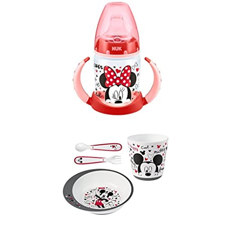 Nuk - Biberón Minnie Mouse de silicona, 150 ml + Nuk Mickey - Set ...