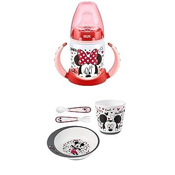 Nuk - Biberón Minnie Mouse de silicona, 150 ml + Nuk Mickey - Set de vajilla