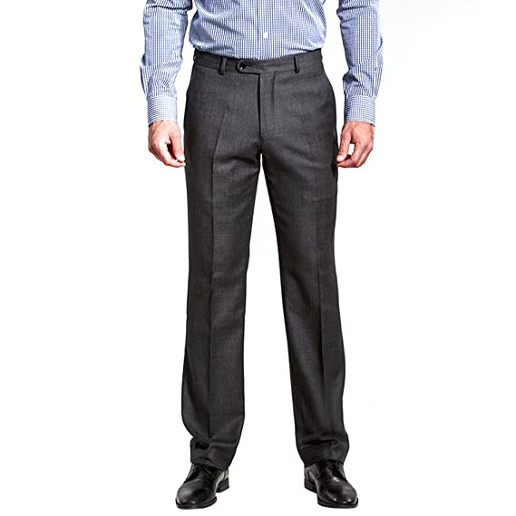 HBDesign Mens Casual Slim Fit Flat Front Straight Pleated Dark Grey Iron Free Pant