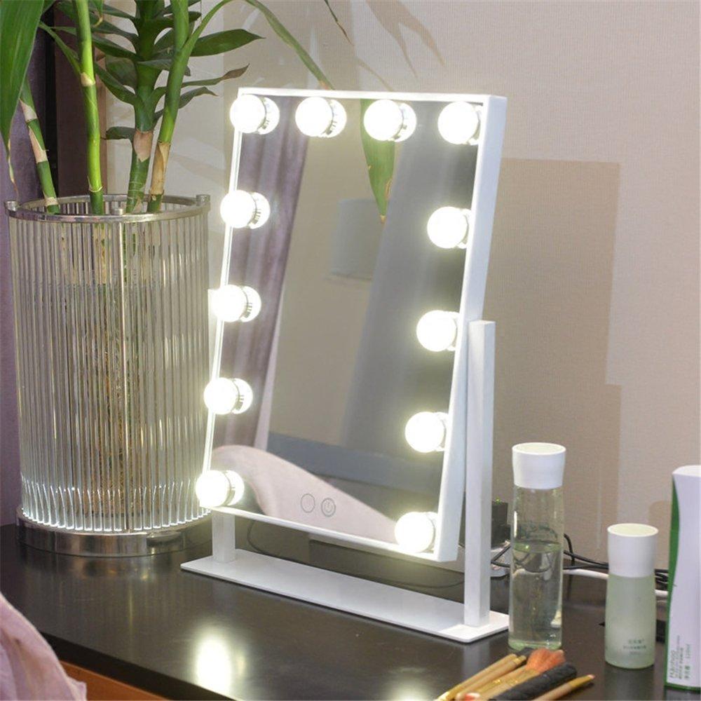 Yroar miroir de maquillage face sur pied avec lampe pour for Miroir hollywood ikea