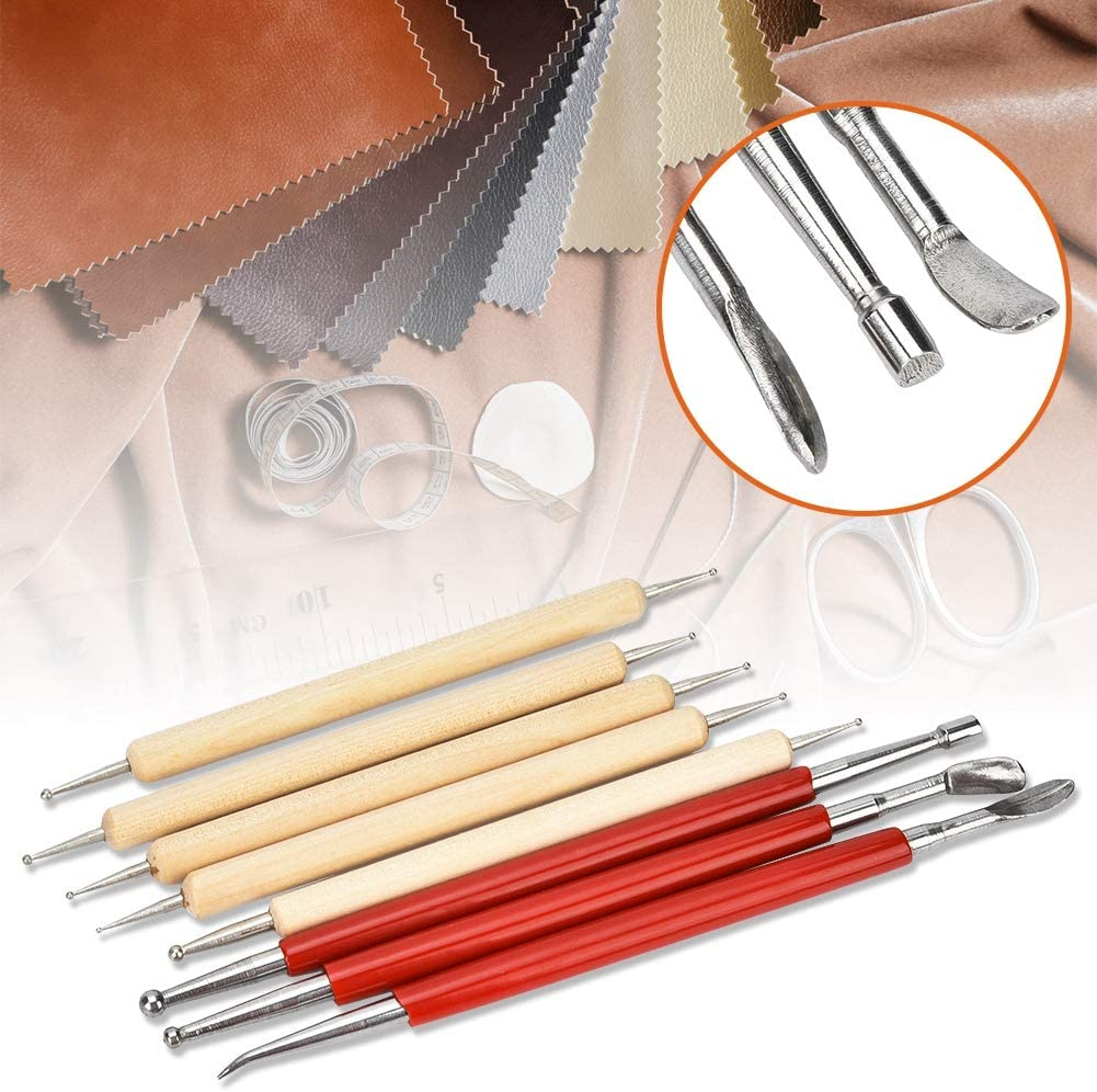 Leather Craft Modelling Embossing Spoon /& Carving Tool Stylus Kit Dual Head