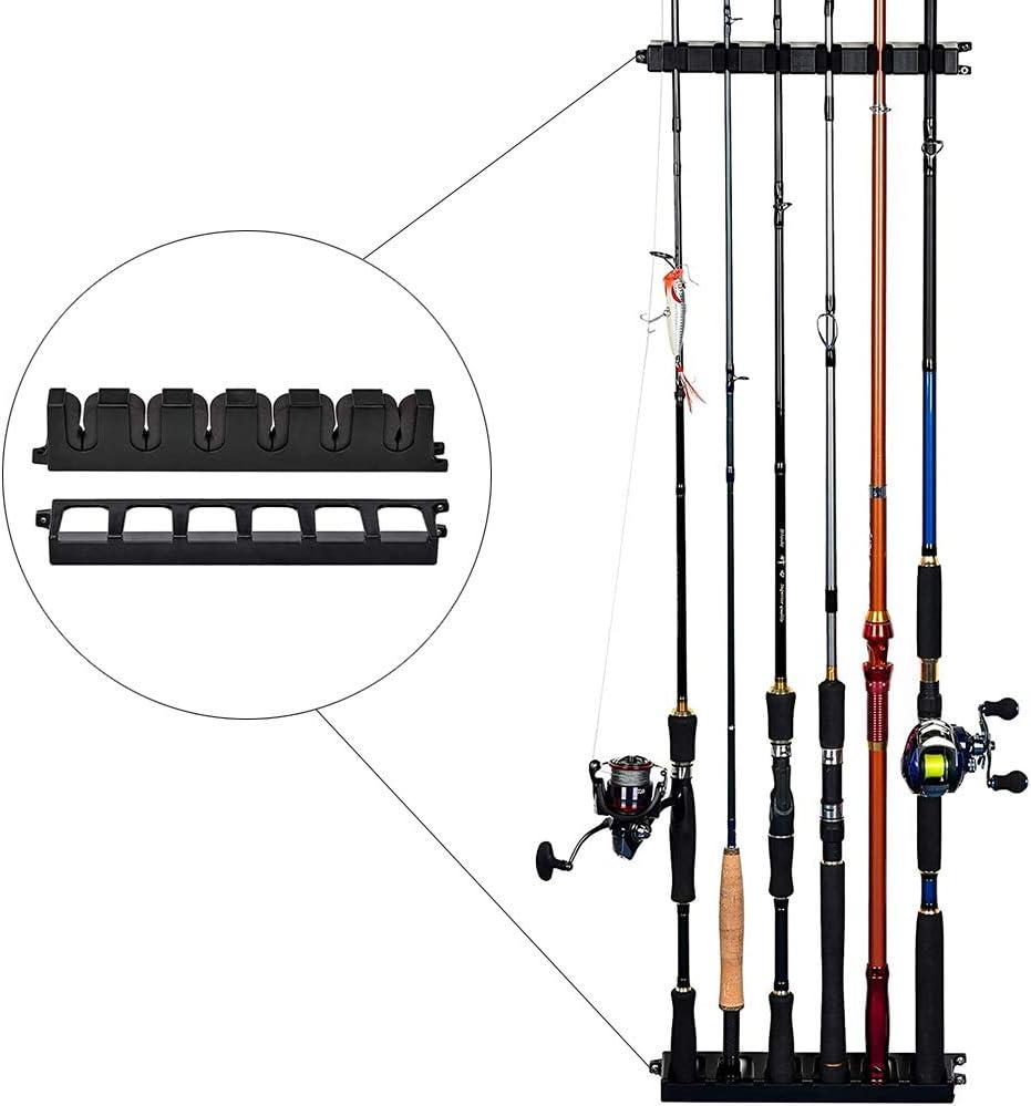 Vertical 6-Rod Rack Fishing Pole Holder