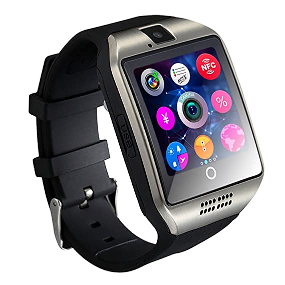 ZOMTOP Q18 Smart Watch teléfono Bluetooth cámara SIM TF Tarjeta SmartWatch para Android Samsung LG Google Pixel y iPhone 7 7Plus 6 6S 6S Plus (Plata): ...