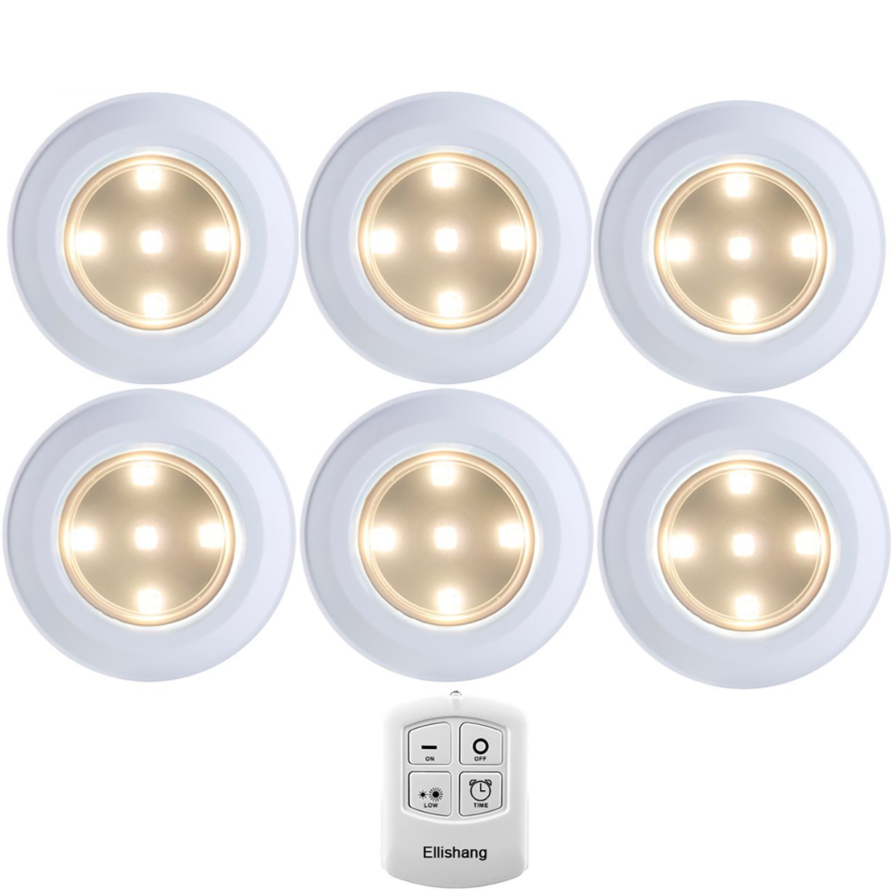 Puck Lights with Remote Control, Ellishang 6 Pack LED Tap Lights Battery-powered Wireless Night Lights Kitchen Under Cabinet Lighting,Stick on Push Lights for Closets,Pantries-Warmwhite