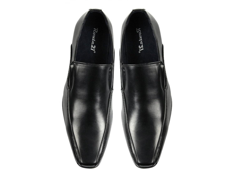 Route 21 BRETT Mens Leather Lined Tramline Chisel Toe Shoes Black:  Amazon.co.uk: Shoes & Bags
