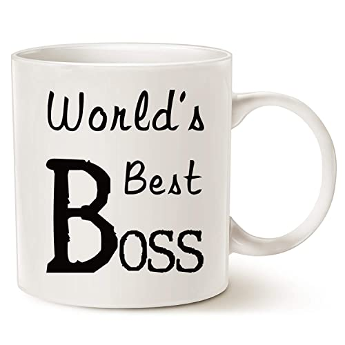 MAUAG Christmas Gifts Worlds Best BOSS Coffee Mug Funny For Boss Day White 14 Oz