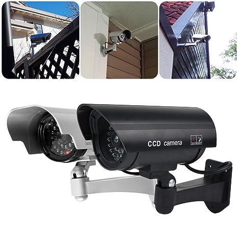 Cámara de CCTV simulada, sistema de vigilancia de la seguridad del CCTV de la bala falsa solar con el LED de la grabación de la mirada realista-Uso interior ...