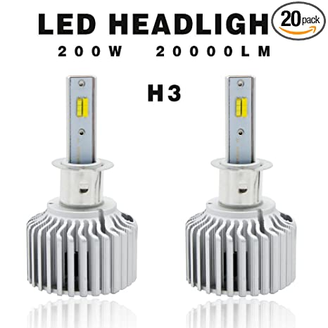 Amazon.com: Globled 2x H3 200W 20000LM LED Headlights Dual Colors Bulbs with Canbus Beams 6000k White/3000k Yellow Turbo Lamp Fog Lamps(H3): Automotive