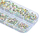 #2: Zealer 1800pcs Crystals AB Nail Art Rhinestones Round Beads Top Grade Flatback Glass Charms Gems Stones for Nails Decoration Crafts Eye Makeup Clothes Shoes 300pcs Each (Mix SS3 6 10 12 16 20)