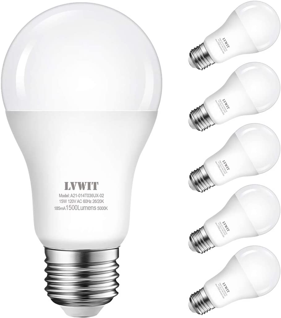 LVWIT A19 LED Light Bulb 14W(97W Equivalent) 5000K Daylight, White Energy Saving Light Bulbs for Office/Home, E26 Screw Base Non-dimmable, UL-Listed Pack of 6