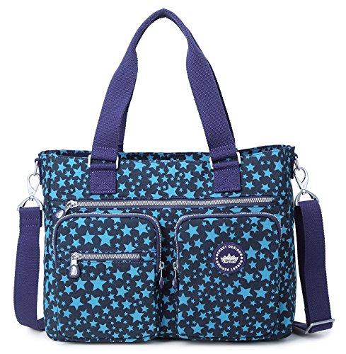 Crest Design Women's Water Repellent Nylon Shoulder Bag Handbag Tablet Laptop Bag Notebook Briefcase Travel Work Tote Bag Notebook Briefcase (Large, Navy Star)